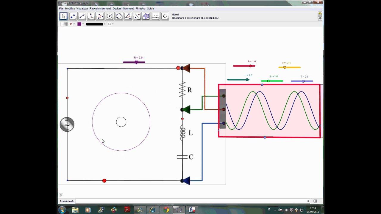 Circuito Rlc : Circuito rlc e oscilloscopio con geogebra youtube