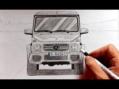 Как нарисовать машину Мерседес Гелендваген