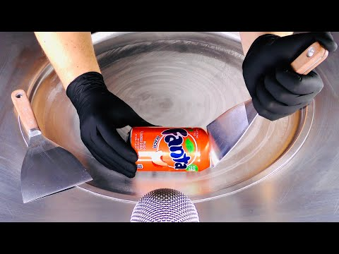 ASMR - Fanta Peach Ice Cream Rolls | oddly satisfying fast & rough tapping & scratching to sleep 4k
