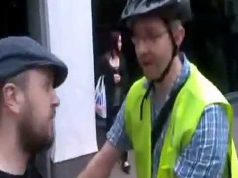 A creepy guy on a bike tries to make a citizens arrest.