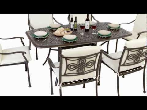 Metal Rectangular 6 Seater Patio Furniture Set with full length cushions