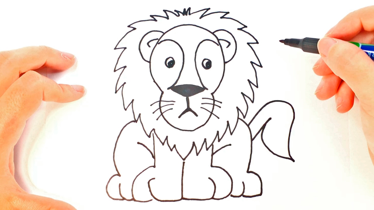 How to draw a lion for kids lion easy draw tutorial for Como pintar un mural infantil