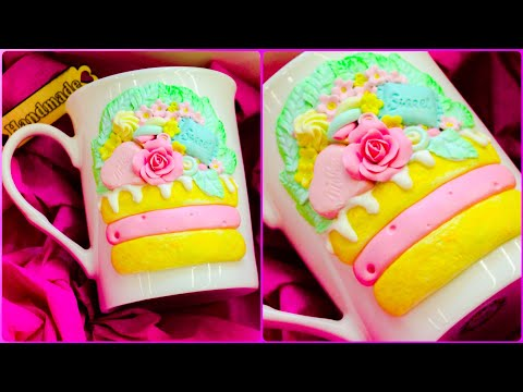 Polymer clay: tutorial in modeling decor on a cup in the form of a cake
