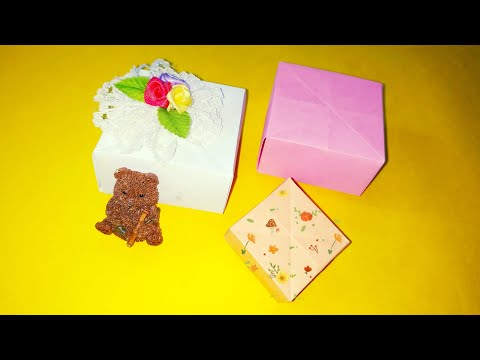 Paper gift box making | DIY | without glue | gift box crafts ideas | paper gift box easy | beginners