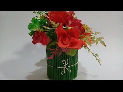 Cara Simple  Membuat  vas bunga dari Sedotan