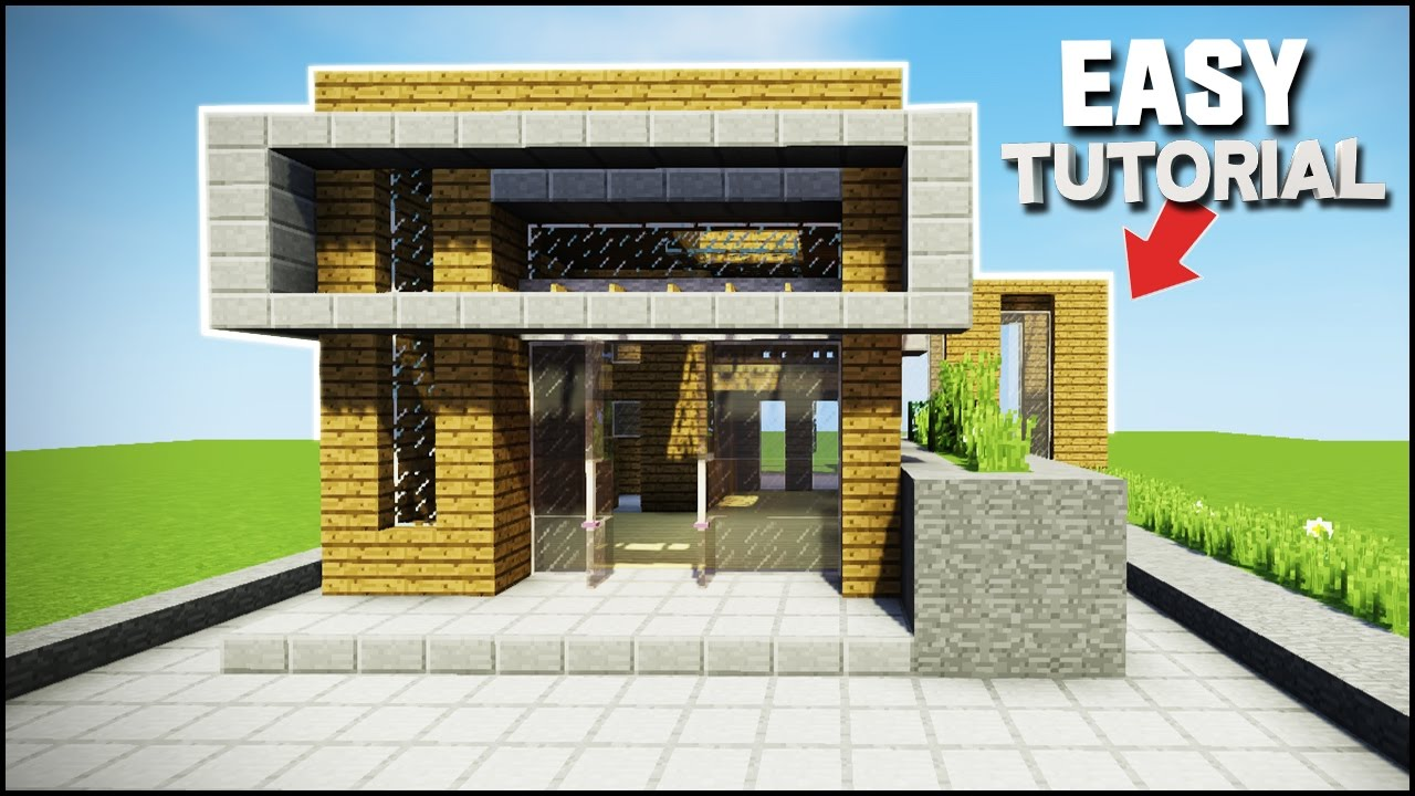 Minecraft how to build an easy modern house best house tutorial youtube