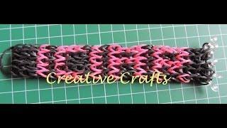 Repeat youtube video Tutorial pulsera Rainbow Loom con nombre. How to make bracelet Rainbow Loom name.