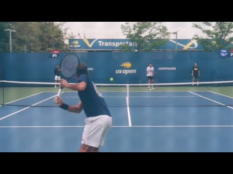Federer and Wawrinka Training at US Open 2019 Court Level View