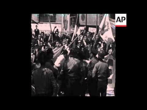 CAN353 RIOT TAKES PLACE IN CORDOBA MARKING GENERAL DE GAULLE'S DEPARTURE FROM ARGENTINA