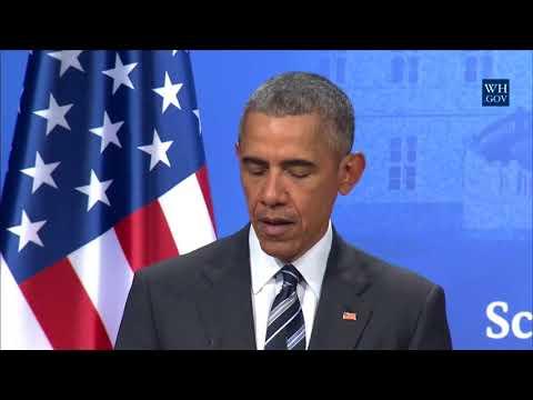 Barack Obama Holds PressConference with Chancellor Merkel at SchlossHerrenhausen Hannover, Germany
