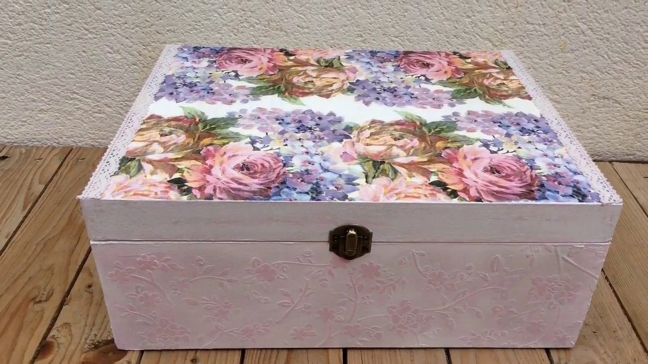 Decorar Cajas Con Servilletas Caja Vintage Con Decoupage Y Relieve - Youtube
