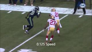 49ers sideline hit on Jeremy Lane (49ers vs Seahawks Game 1/19/14) - Slowed down
