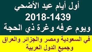 اول ايام عيد الاضحي 2018-1439 وغرة ذي الحجة وموعد يوم عرفة في السعودية وجميع الدول العربي