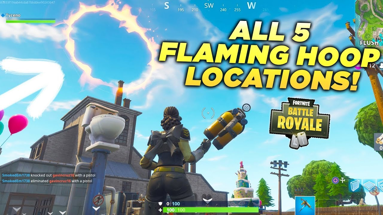 All 5 Flaming Hoop Locations Jump Through Flaming Hoops With A