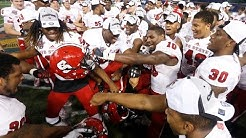 Watch as the NC State Wolfpack celebrate their victory in the Bitcoin Bowl