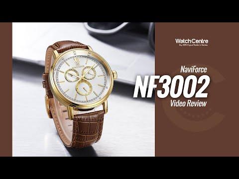 NaviForce NF3002 Brown Strap Golden Chronograph Men's Watch