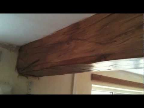 Oak wood effect faux plaster beams youtube for What is faux wood