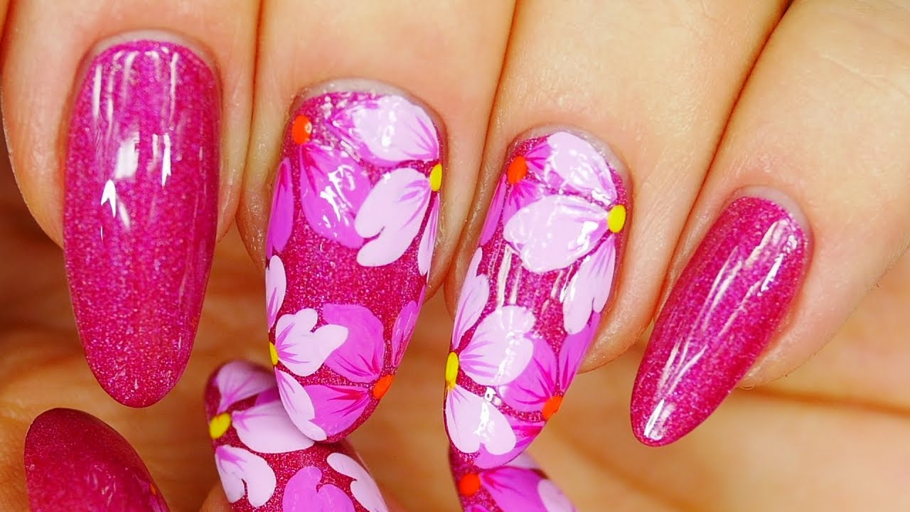 Nail Art. Magenta design !!! Pretty Flowers !!! - YouTube