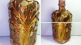 Декор бутылок денежное дерево своими руками. Декупаж декорирование украшение бутылки. Мастер класс