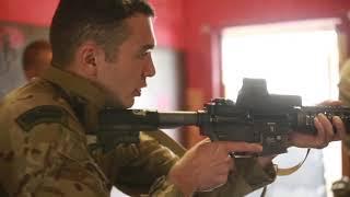 British Royal Marines and U S Marine Corps Security Forces Battle Training