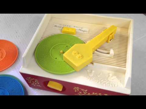 Vintage 1971 Fisher Price Music Box Record Player With 5 Records - Works!