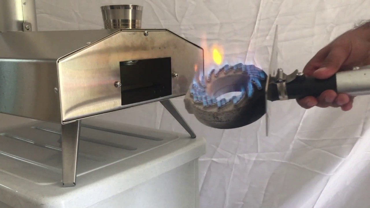 Lighting And Inserting Gas Burner Into The Uuni Wood Fired