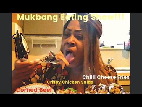 Corned Beef Chili Cheese Fries & Crispy Chicken Salad Mukbang/Eating Show!!!