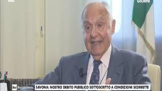 """Ministro Savona a Rai Parlamento: """"Patto stabilità da rivedere"""""""
