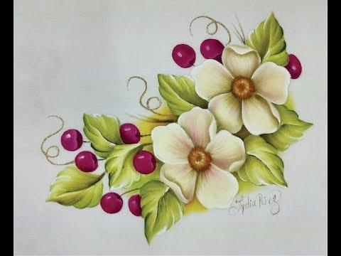 Pintura En Tela Como Pintar Flores Con Cerezas Youtube