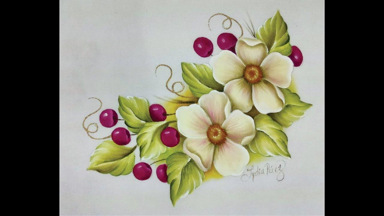 Pintura en tela como pintar flores con cerezas - YouTube