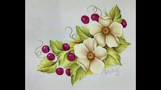 Como pintar flores en tela con cerezas