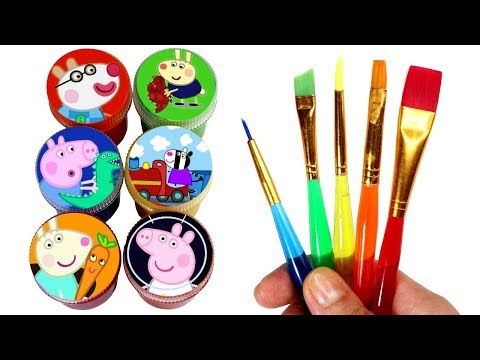 Peppa Pig Drawing & Painting Learn Colors with Peppa Friends Surprise Toys & Surprise Eggs for Kids