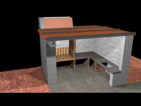 Construcci n de la barbacoa 2 parte youtube for Tejados de madera para barbacoas