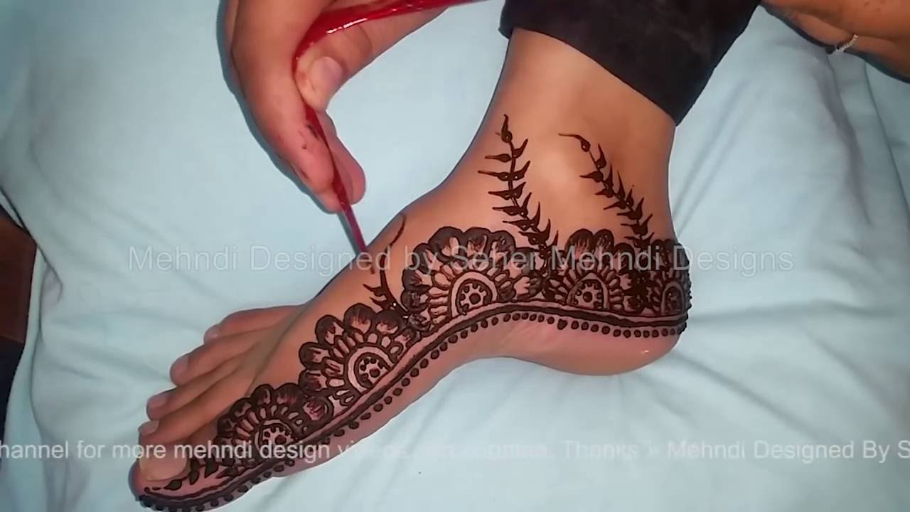 Leg Mehndi Designs Easy Only : Eid special foot mehndi design very simple new youtube