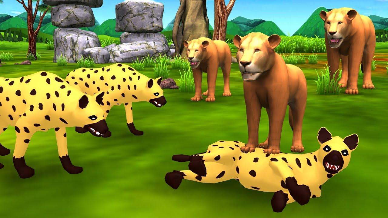 शेर और लकड़बग्घा Lion and Hyena हिंदी कहनी Hindi Kahani - Panchatantra Moral Stories  Hindi Kahaniya