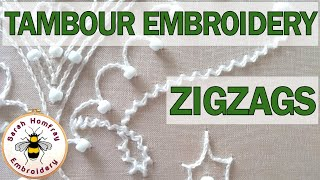 Tambour embroidery - stitching a zigzag line