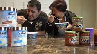 nasty ice cream and salsa challenge loser do the salsa dance