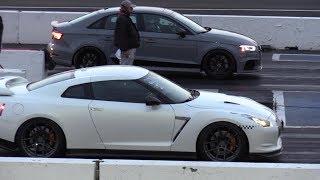 2018 Audi RS3 vs GTR - 1/4 mile race