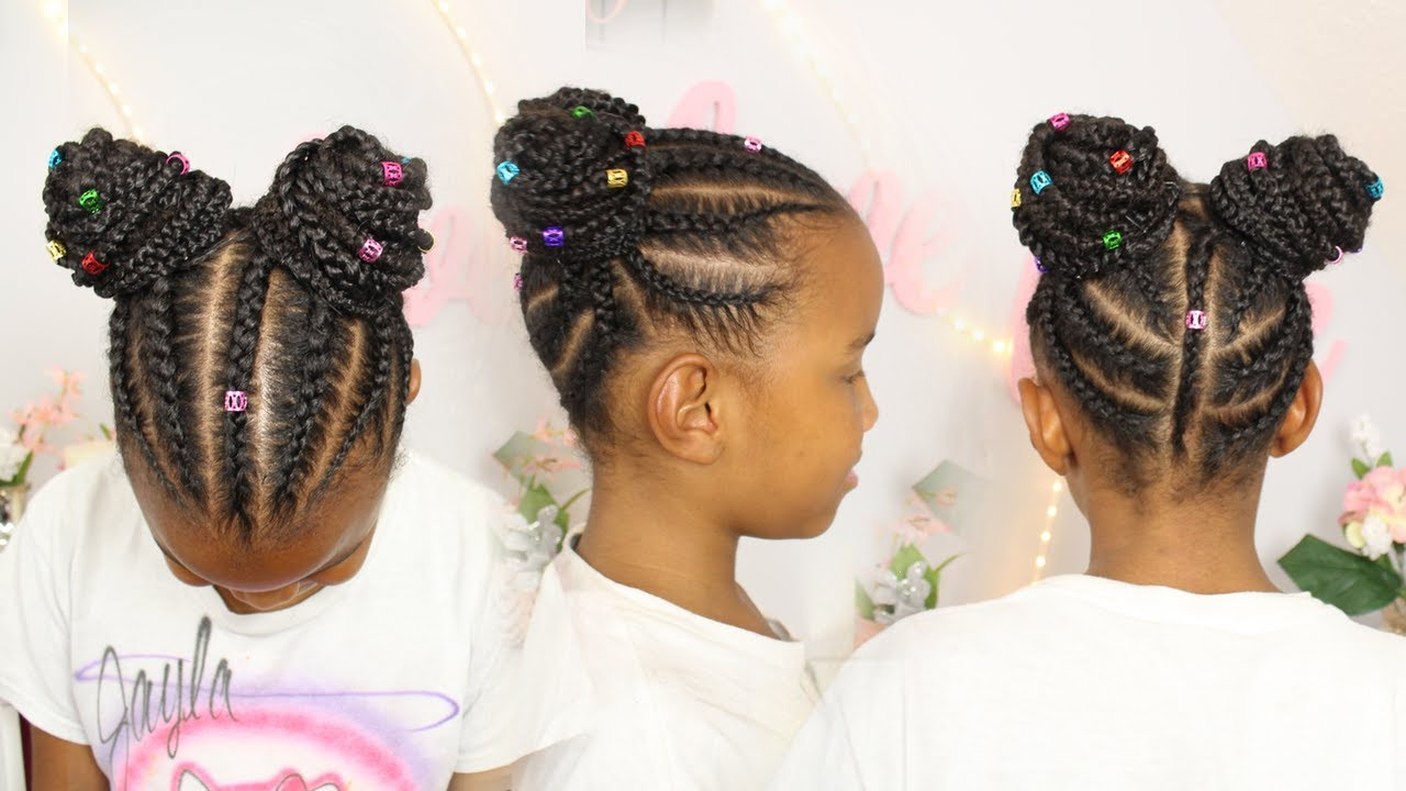 Lil Girl Hair Braiding Styles: Braided Buns W/ Hair Extensions