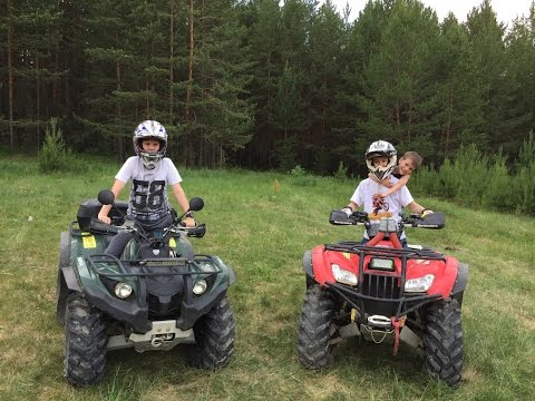 Детские квадроциклы Yamaha Grizzly 450 и Honda TRX420 // Overview ATV Yamaha 450 and Honda 420