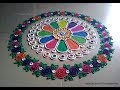 Easy and beautiful rangoli with border of multicolored roses | I Rangoli designs by Poonam Borkar