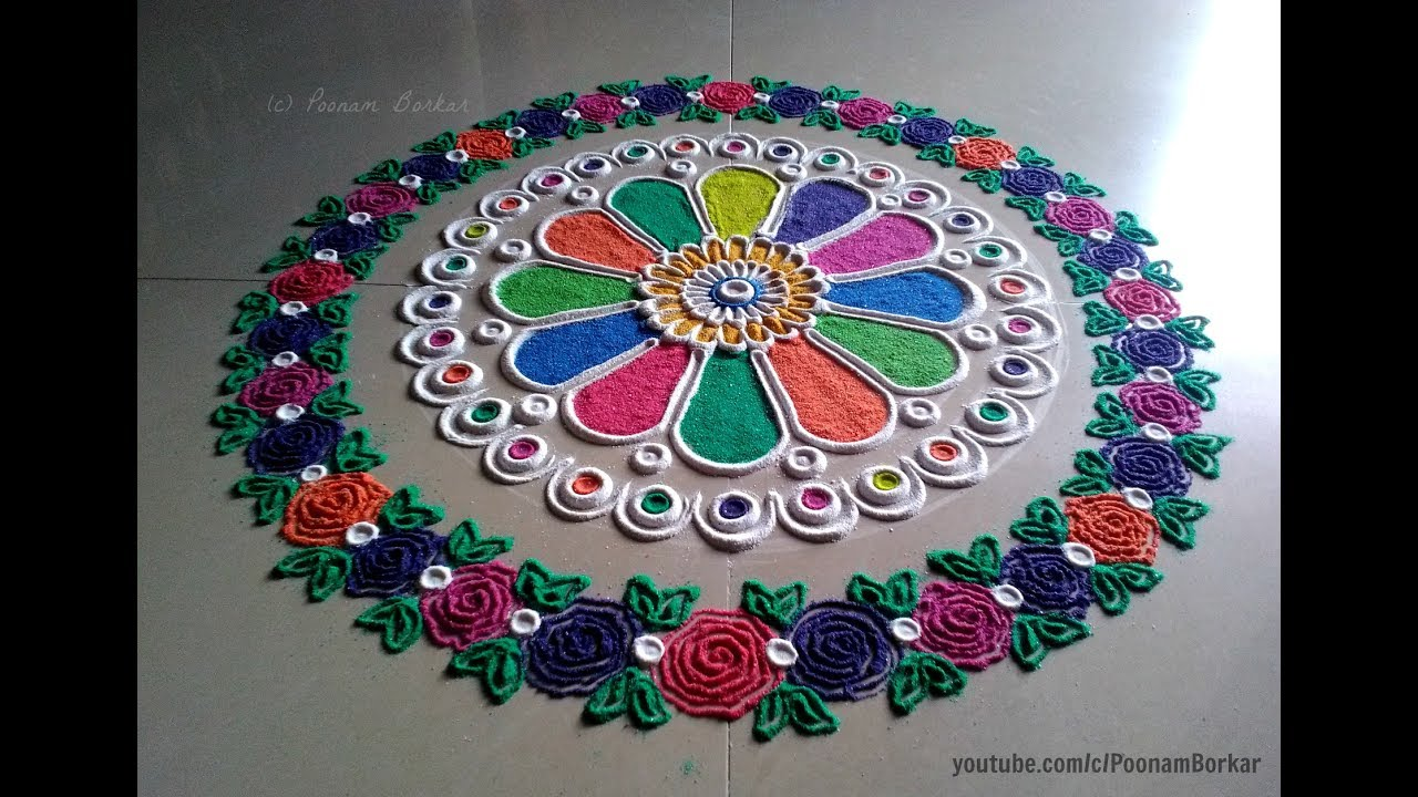 Beautiful Designs easy and beautiful rangoli with border of multicolored roses | i