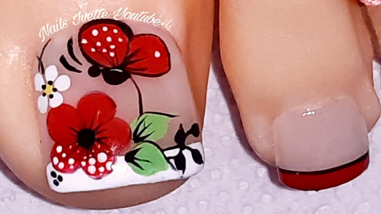 Modelo De Uñas Para Piedecoración De Uñas Pie Flor Y Mariposabella Decoración De Uñas Pie