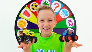 Vlad und Nikita spielen mit Spielzeug Monstertrucks  Hot Wheels Autos für Kinder