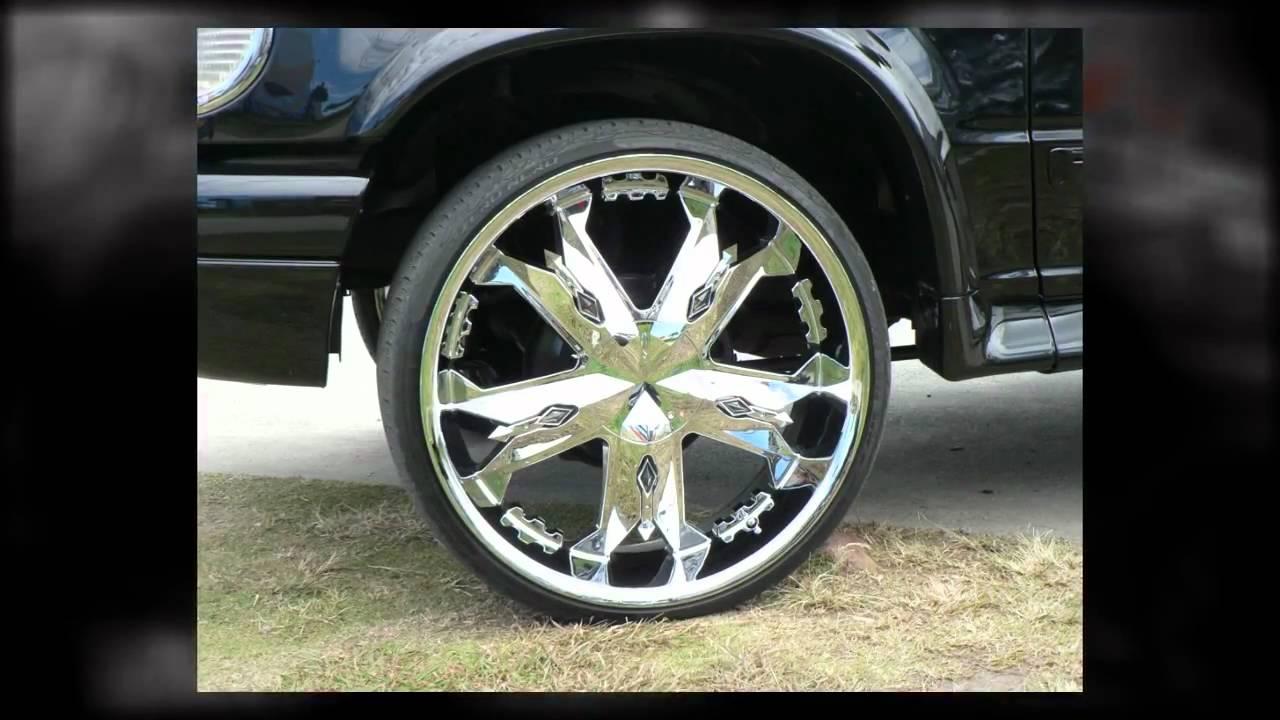 24 wheels chrome - Ford Explorer 24 Inch Custom Rims Diamo Chrome Mag Wheels