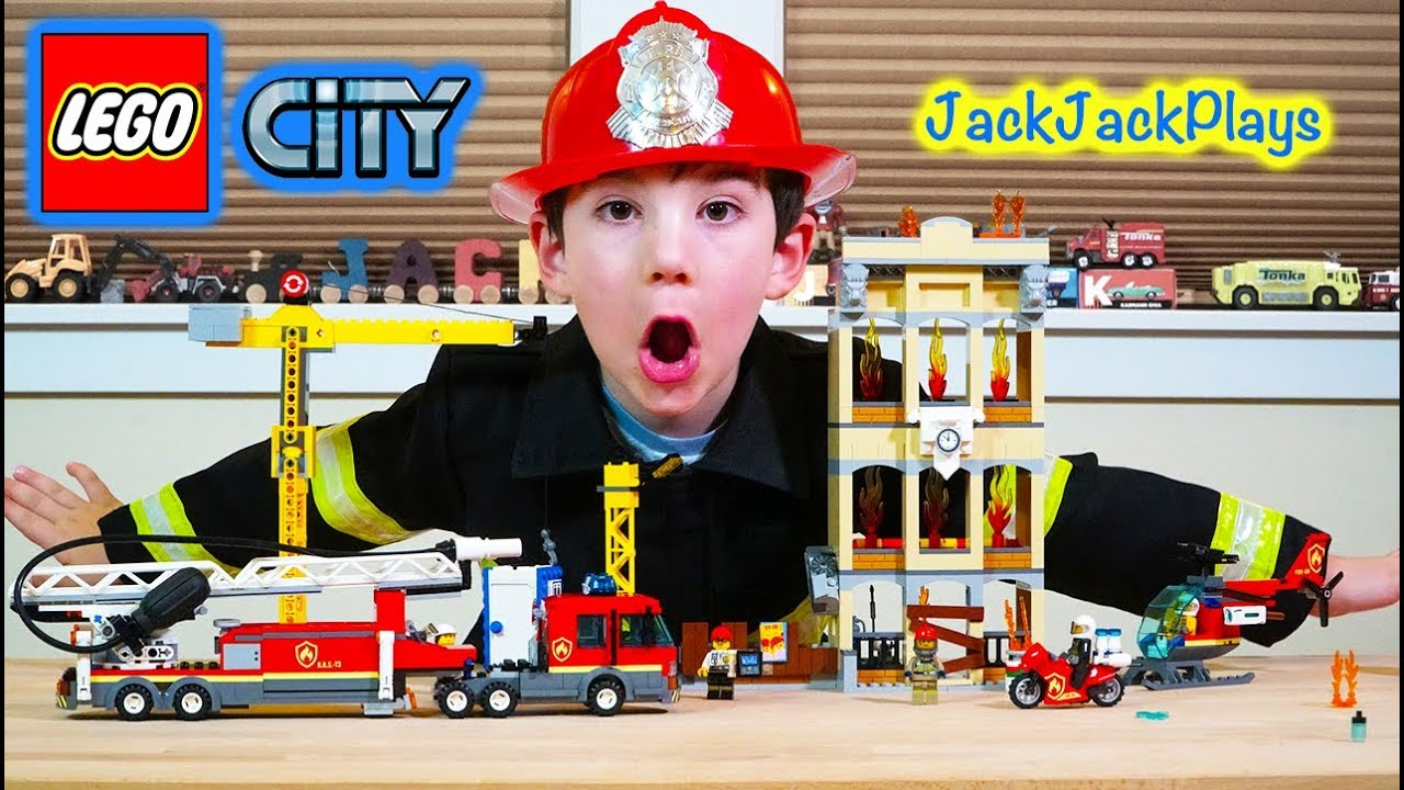 Firefighter Pretend Play With Lego City Downtown Fire Brigade Set Youtube
