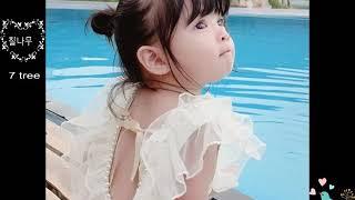 칠나무 아동 수영복 진주 레이스 비키니 일체형
