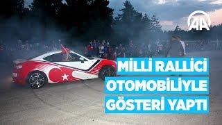 Milli rallici Çetinkaya, otomobiliyle gösteri yaptı