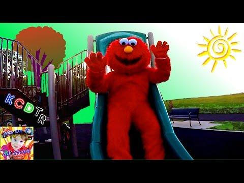 ELMO Goes To The PLAYGROUND! Sesame Street Kids Play area Giant Elmo Slide At the Park