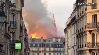 La flèche de Notre-Dame de Paris s'écroule